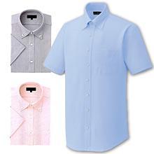 【動きやすいニットシャツ】ボタンダウンピンストライプZシャツ(半袖)