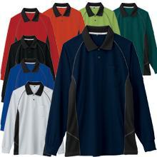 【JIS T8118適合】クールネック帯電防止ツートンポロシャツ(長袖)