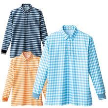 4536チェックプリントポロシャツ(長袖)