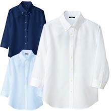 【レディス】 軽量ノーアイロンワッフルシャツ(七分袖)